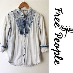 FreePeople Acid Wash Button Down Denim Shirt Small